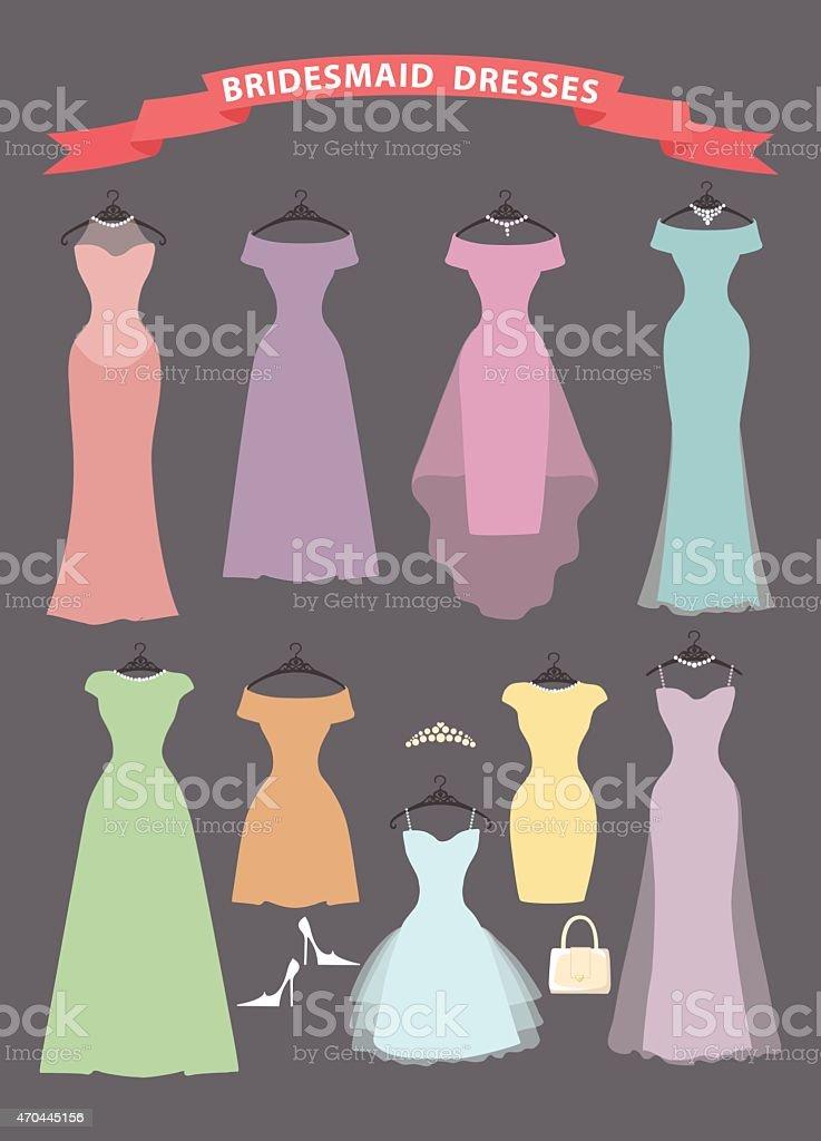 Set of bridesmaid dresses hang on ribbons vector art illustration