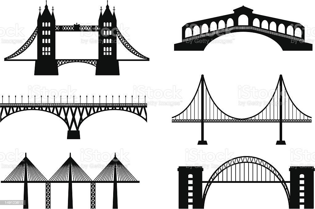 Set of bridge vector art illustration