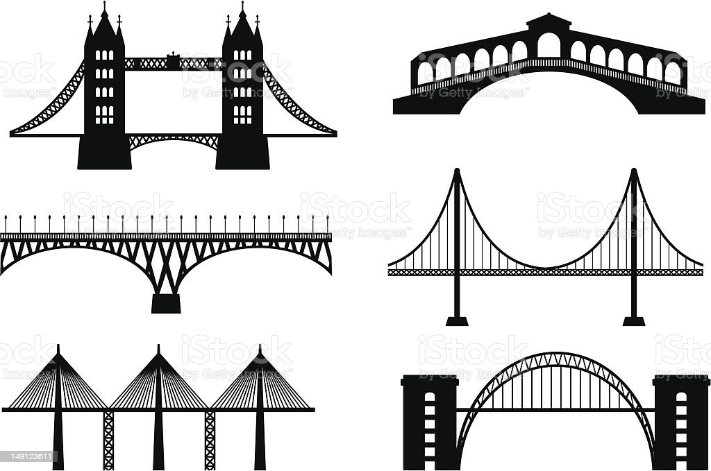 Set of bridge vector art illustration