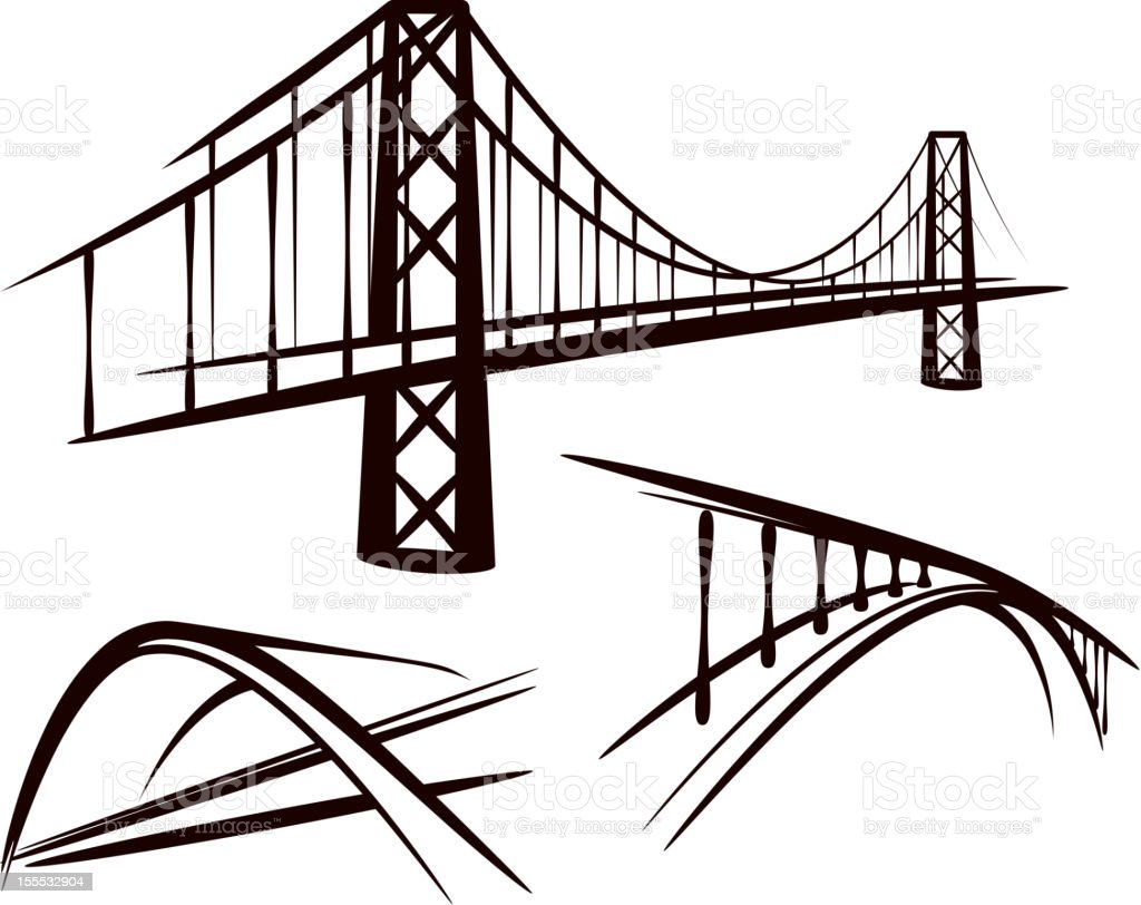 set of bridges vector art illustration