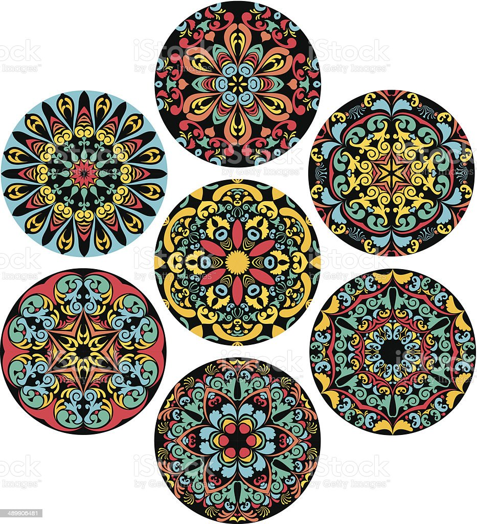 Set Of Brigh Circle Patterns vector art illustration