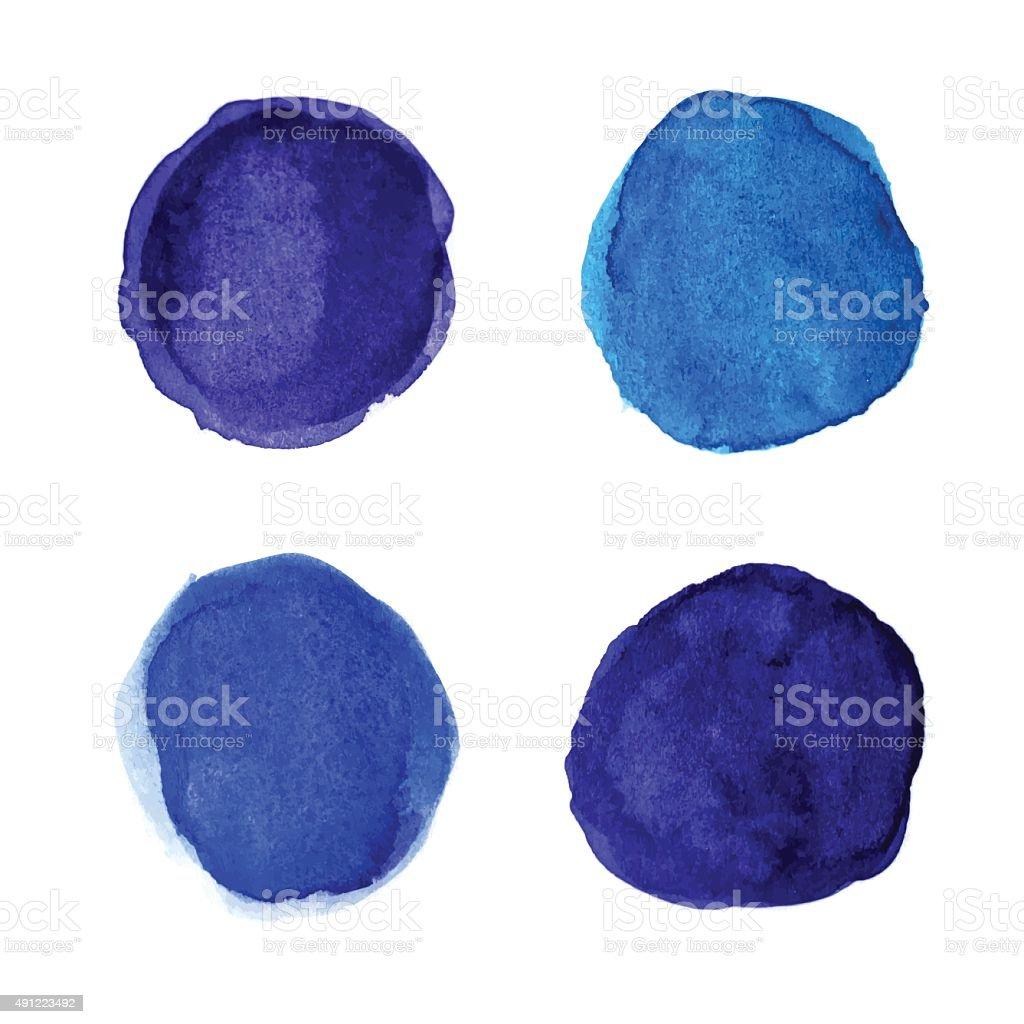 Set of bright blue watercolor spots for your design vector art illustration