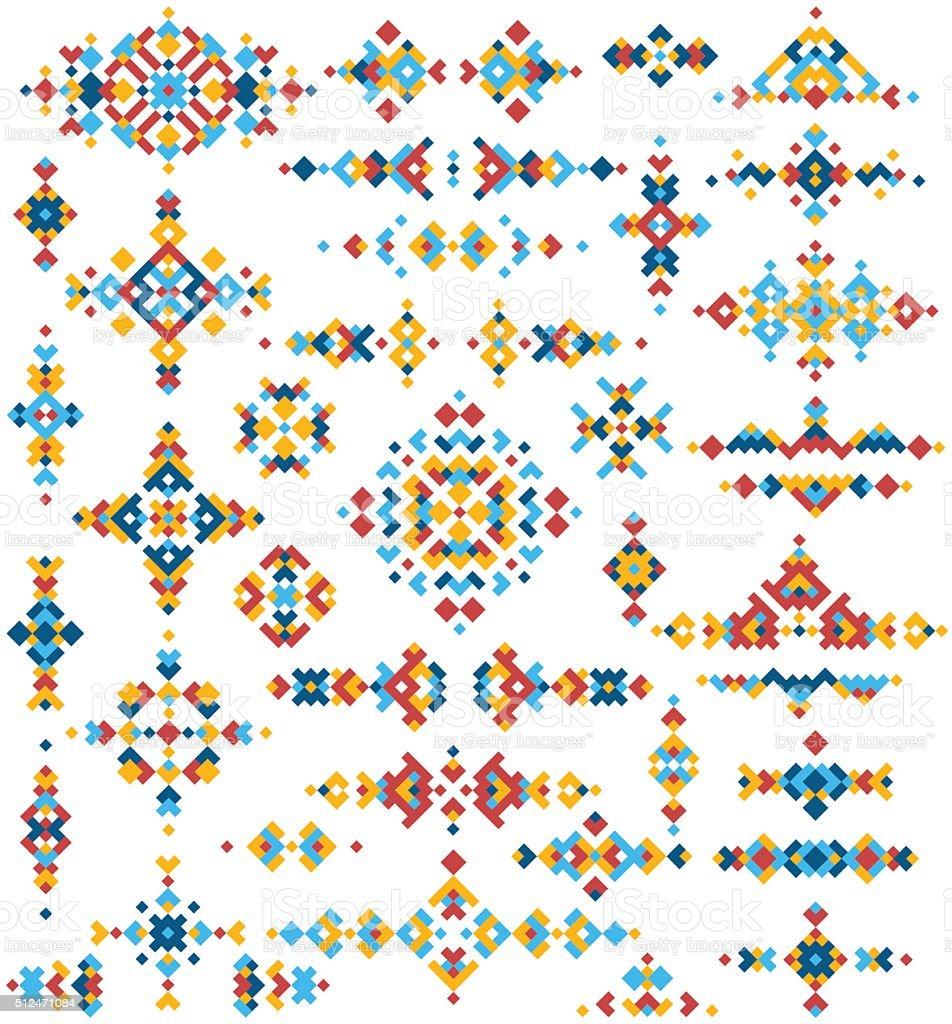 Set of bright geometric tribal design elements. vector art illustration