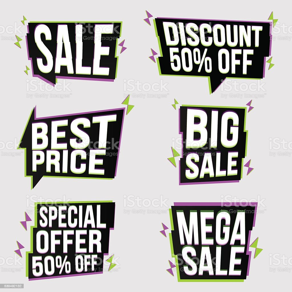 Set of bright, glitched banners vector art illustration