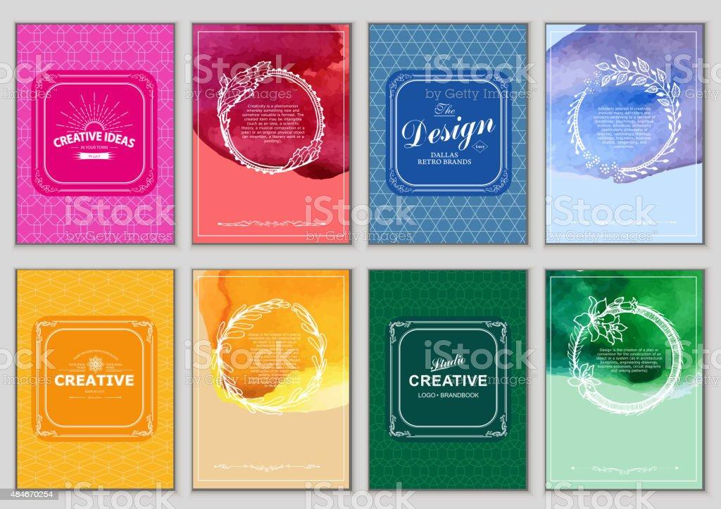 Set of Bright Vintage Labels vector art illustration