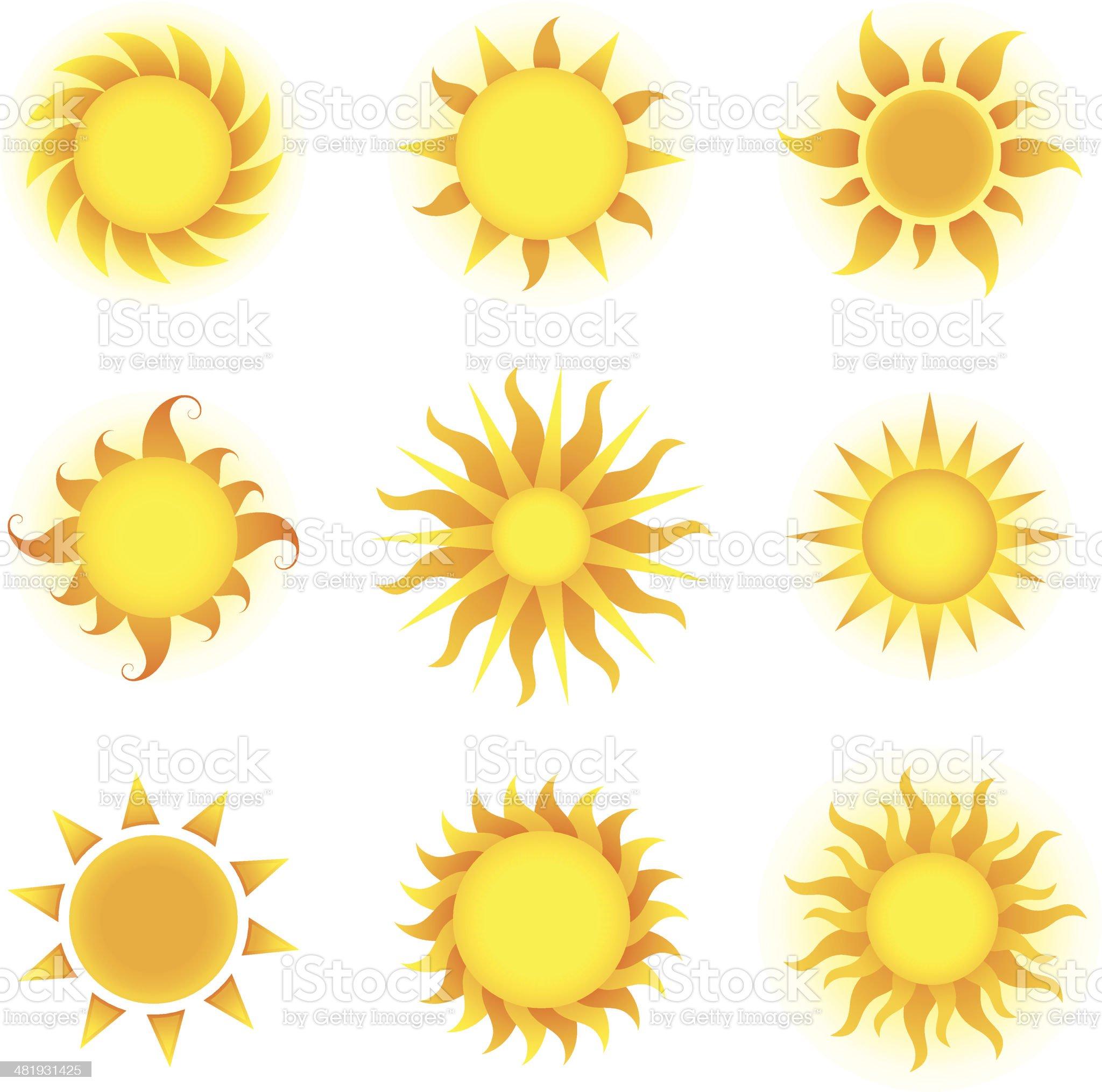 Set of bright yellow sun icons royalty-free stock vector art