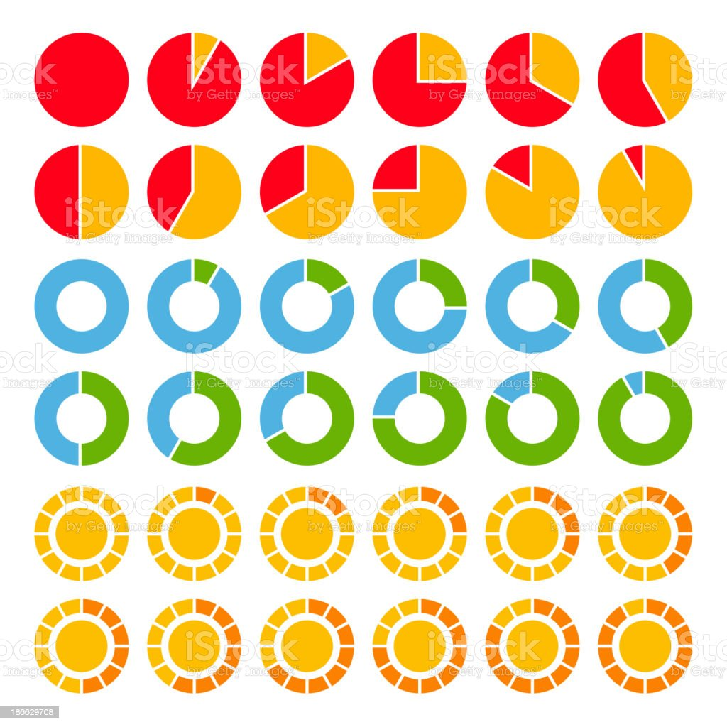 Set of brightly colored pie charts. vector art illustration