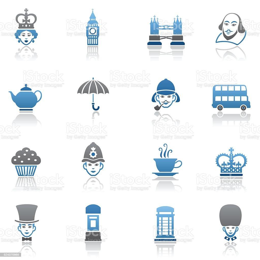 Set of British Icons vector art illustration