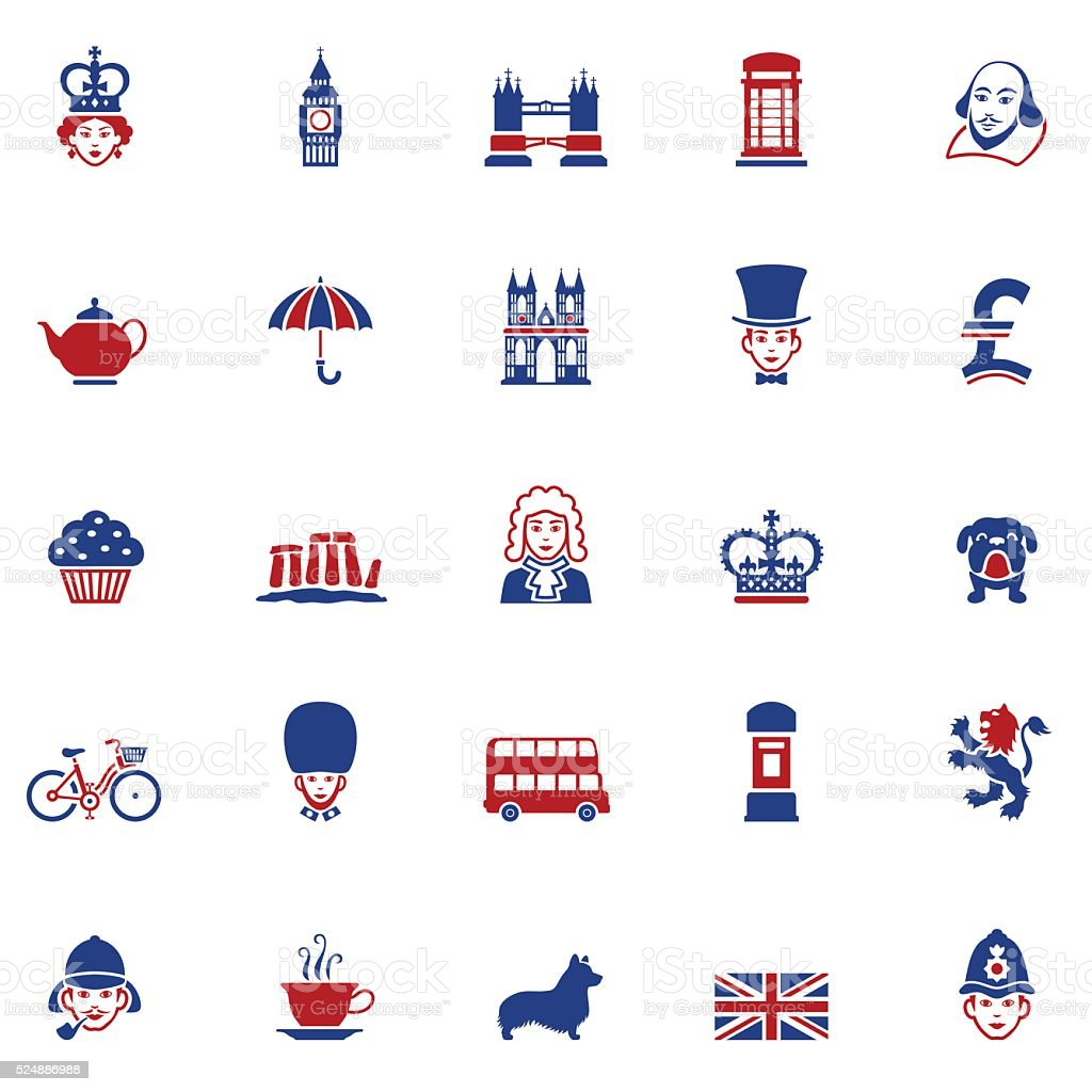 Set of British Icons vector art illustration