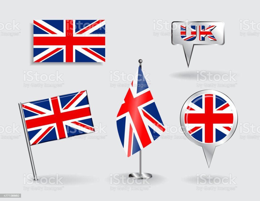 Set of British pin, icon and map pointer flags. Vector vector art illustration