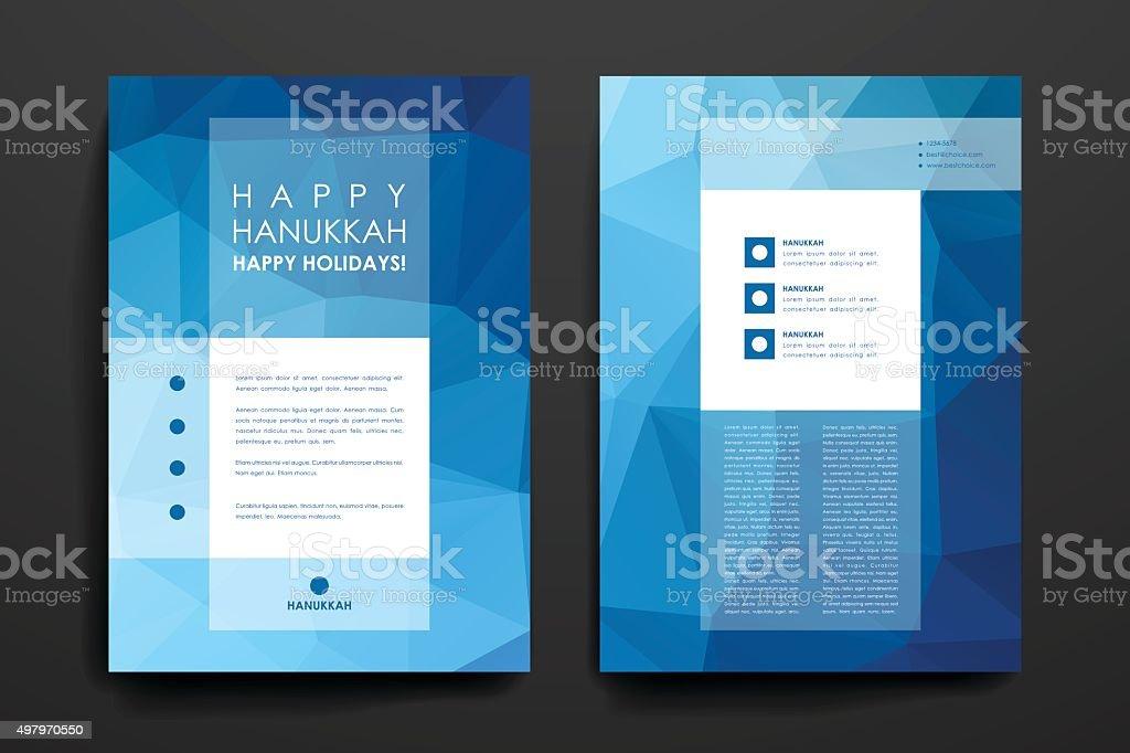 Set of brochure, poster design templates in Hanukkah style vector art illustration