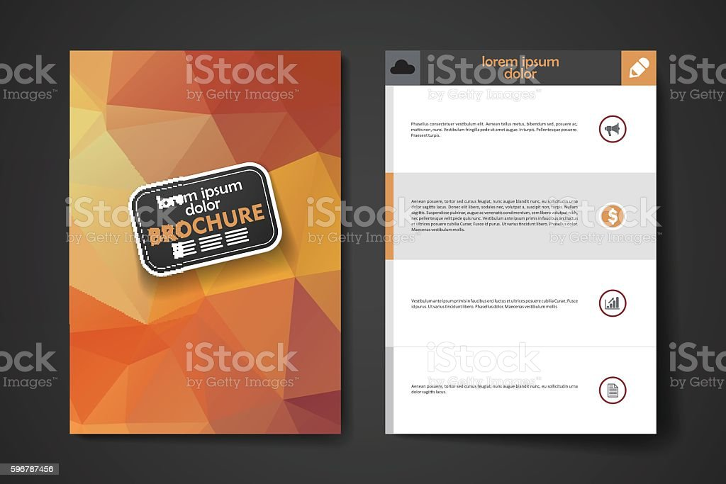 Set Of Brochure Poster Design Templates In Polygonal Style Stock