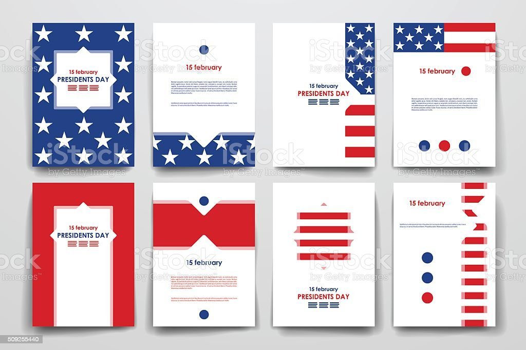 Set of brochure, poster design templates in Presidents Day style vector art illustration