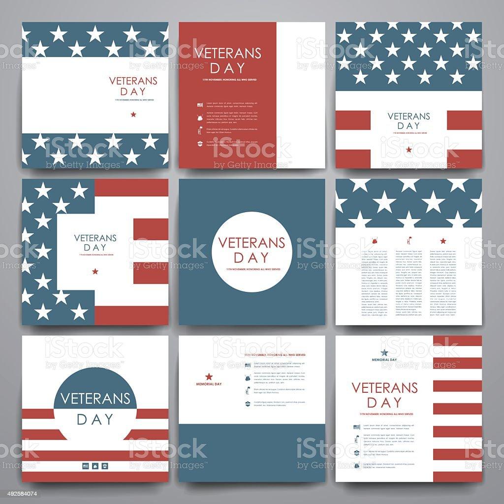 Set of brochure, poster design templates in veterans day style vector art illustration