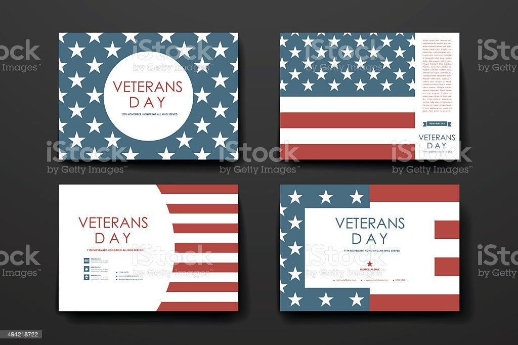 Set of brochure, poster design templates in veterans day style vector art illustration