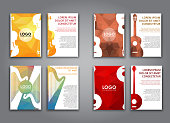 set of brochures with polygonal musical instruments