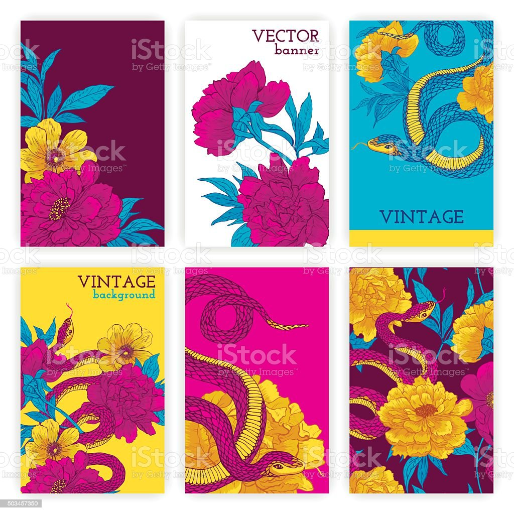 Set of brochures with snakes and flowers. vector art illustration