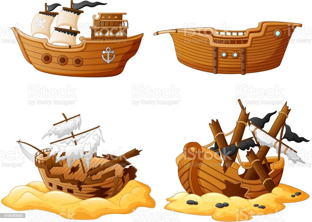 set of broken pirate ship vector art illustration