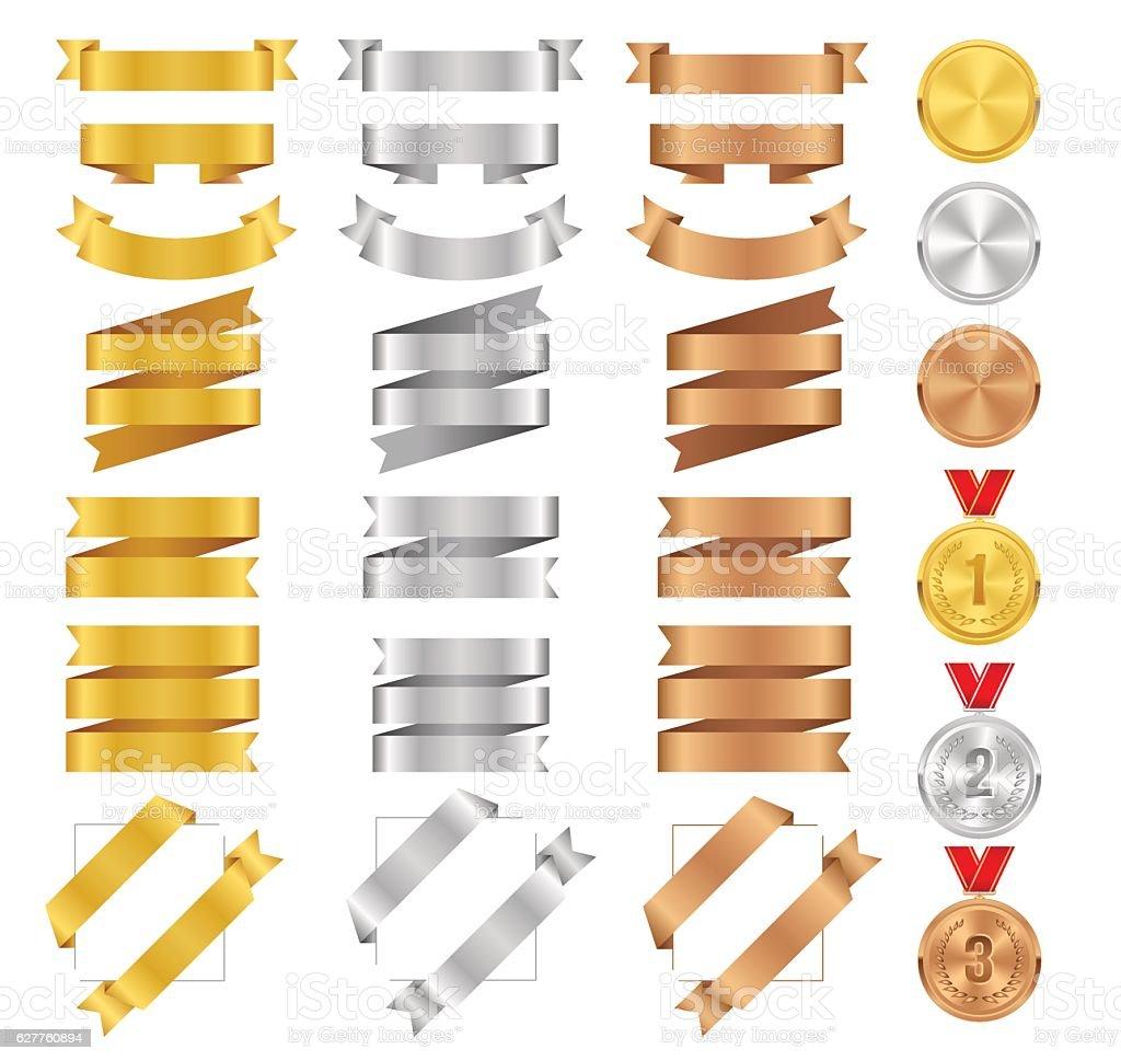 Set of bronze, golden, silver ribbons and vector award medals. vector art illustration