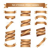 Set of bronze ribbon banners. Bronzed vector tape collection.