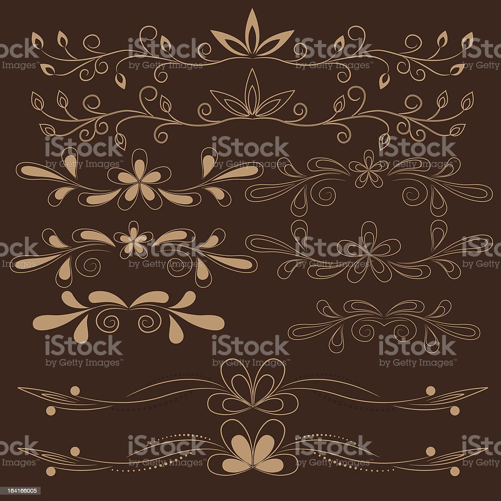 set of brown floral design elements royalty-free stock vector art