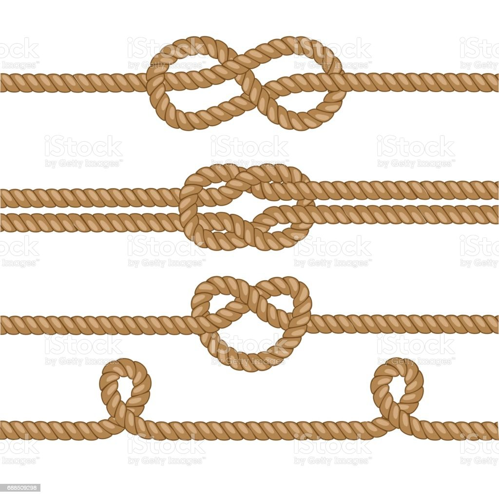 Set of brown ropes illustration with knots. vector art illustration