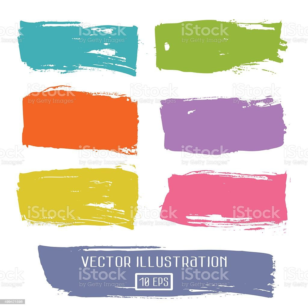 Set of brushes colored ink design elements vector art illustration