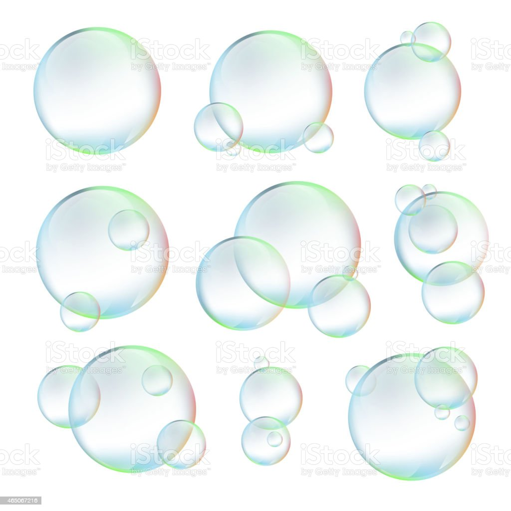 Set  of  bubbles on white background vector art illustration