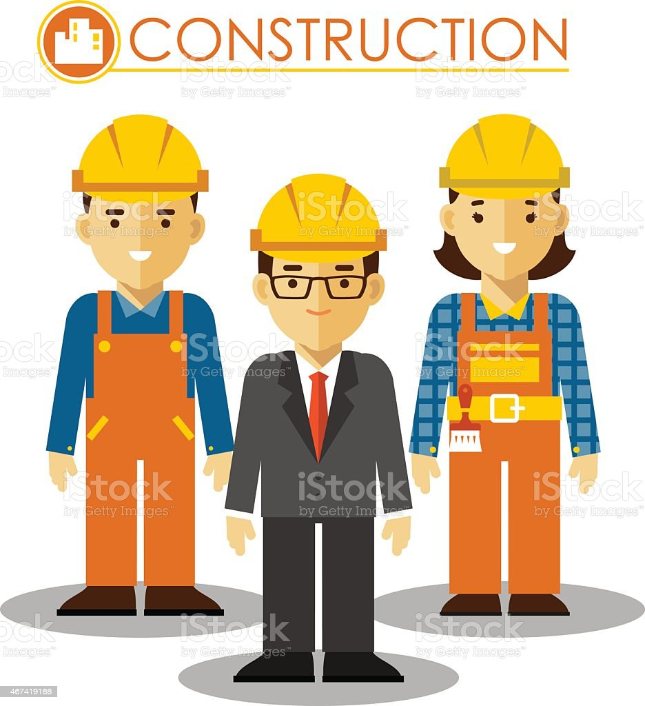 Set of builder man and woman in flat style vector art illustration