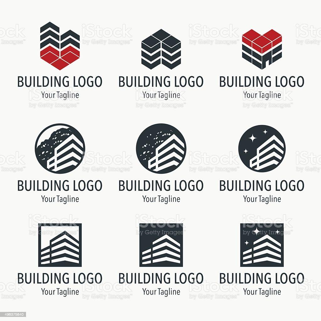 Set of building design elements vector art illustration