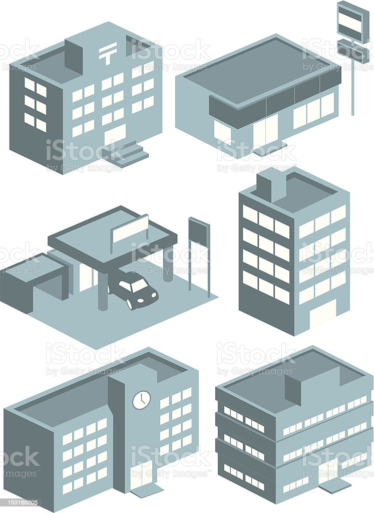 Set of building icons in gray colors vector art illustration
