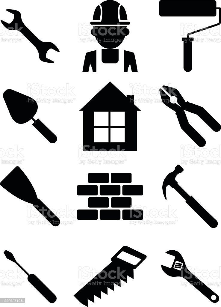 Set of building tools 01 vector art illustration