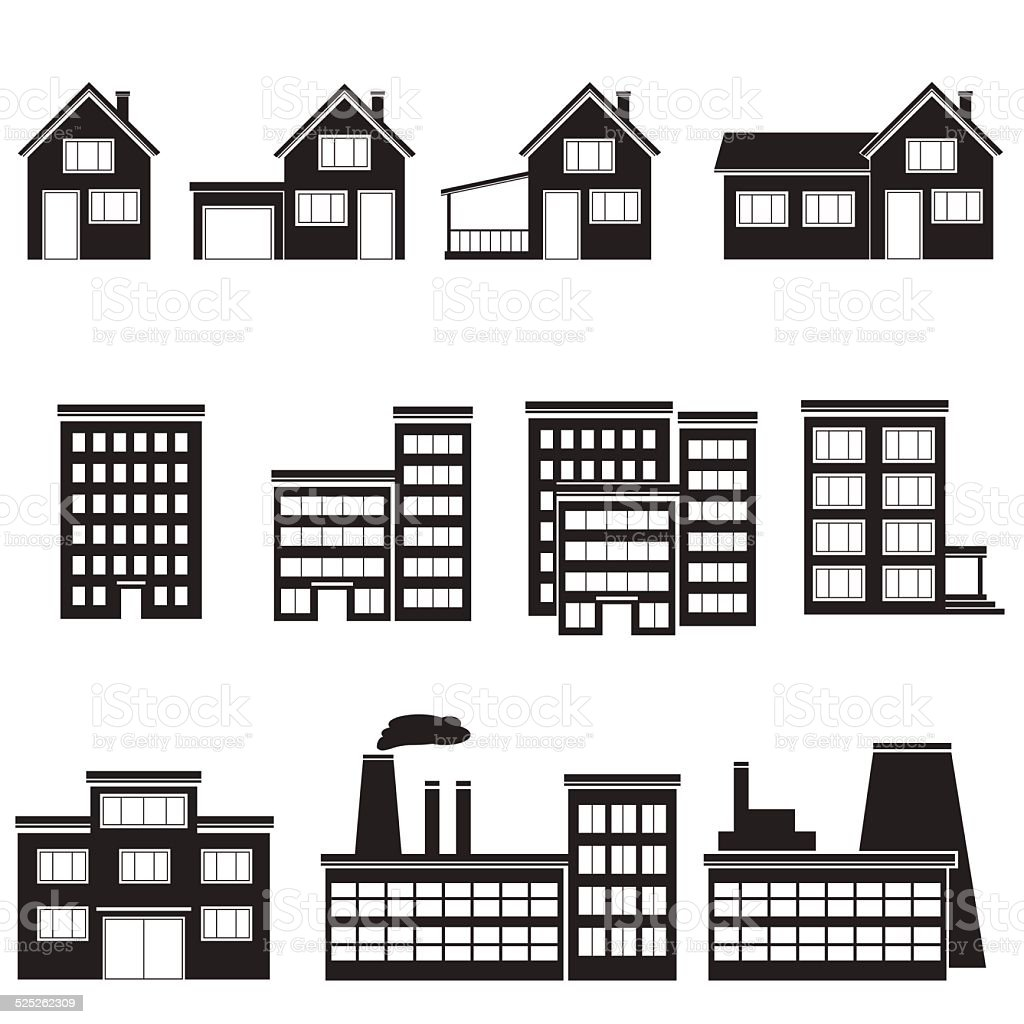 set of buildings office, house, factory vector art illustration