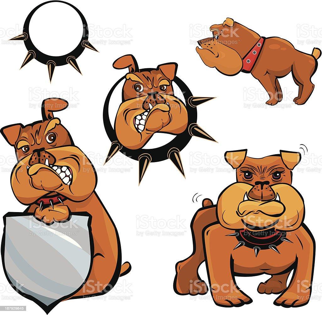 Set of Bulldog cartoons royalty-free stock vector art