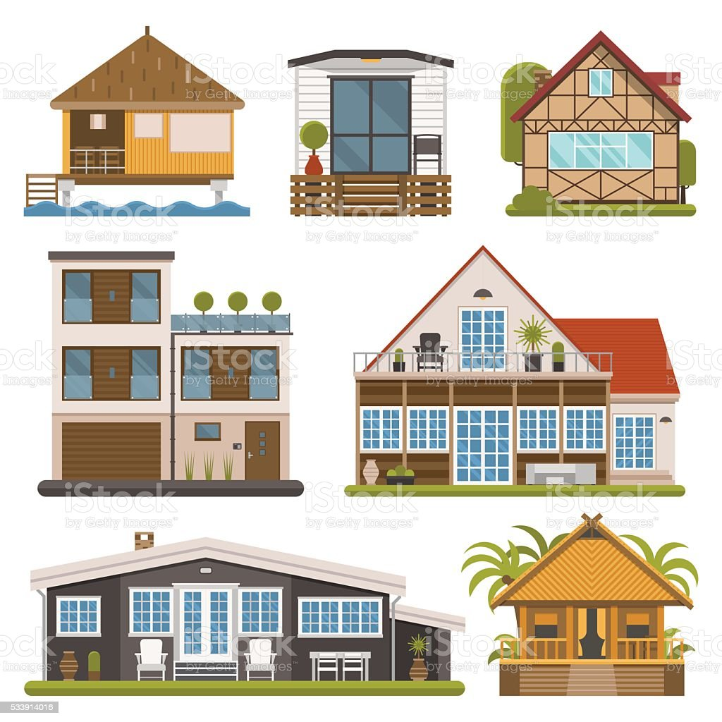 Set of Bungalows, Apartments and House for Rent vector art illustration