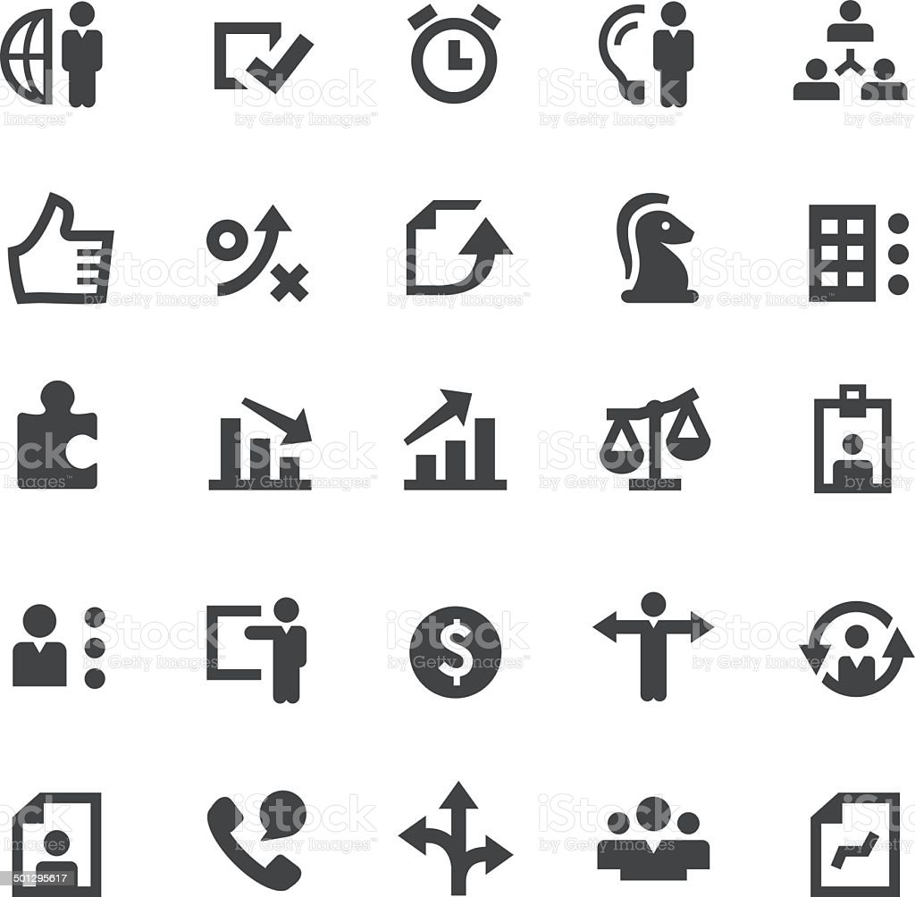 Set of business and human resource icons vector art illustration