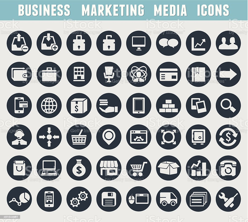 Set of business and marketing icons vector art illustration