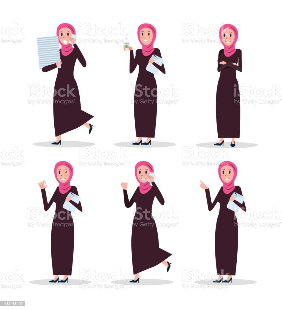 set of business arab woman character with hijab stock