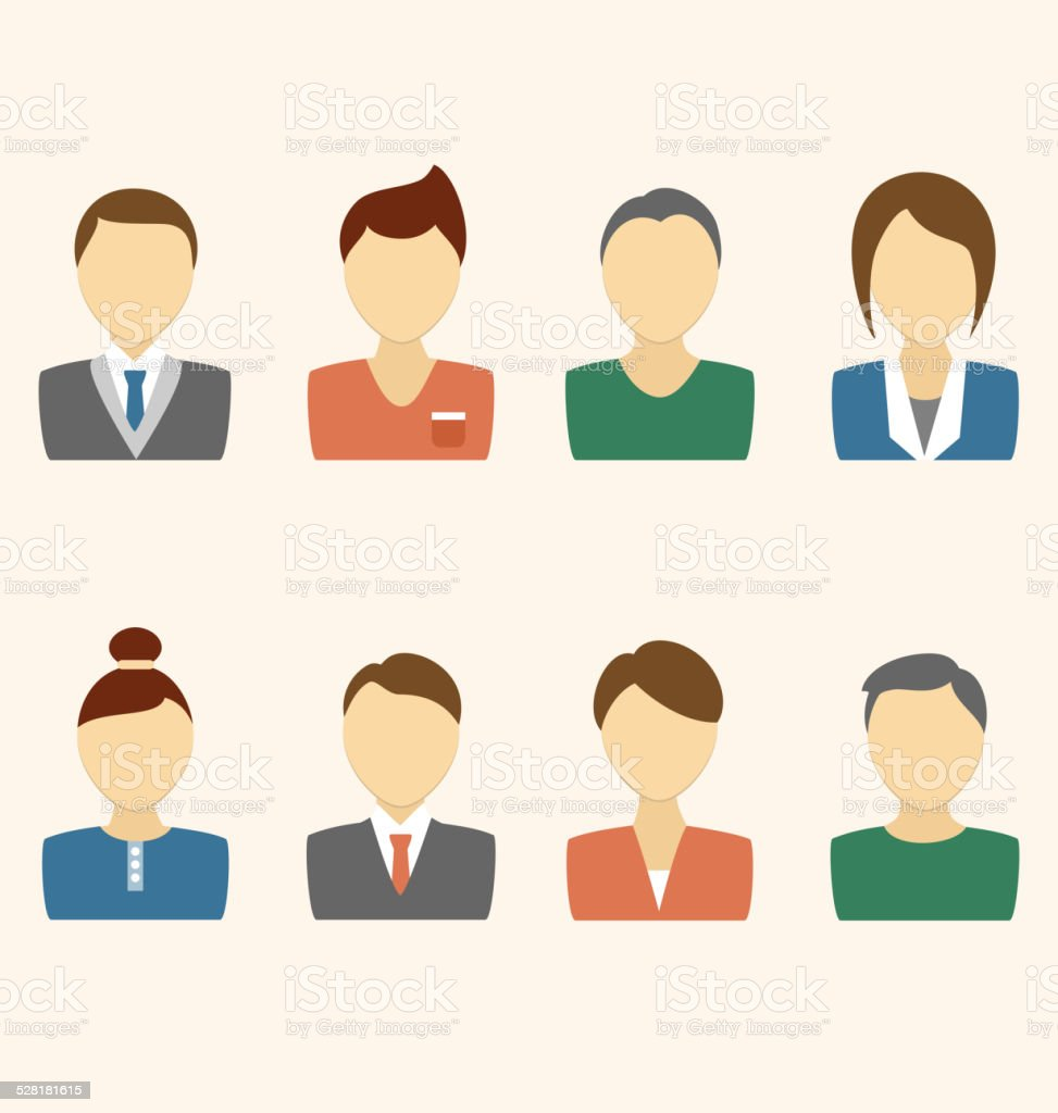 Set of business avatar office employees on beige vector art illustration