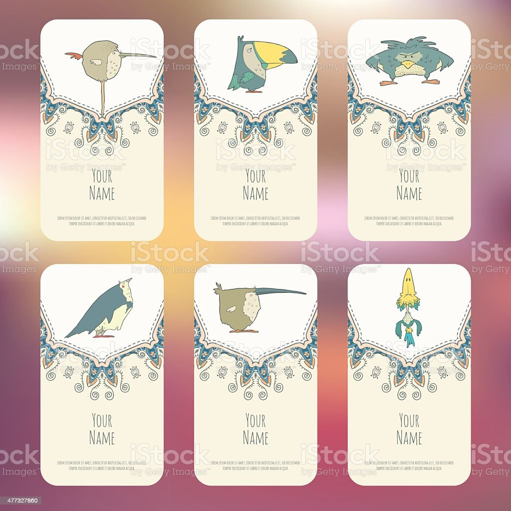 Set of Business cards with hand drawn birds vector art illustration