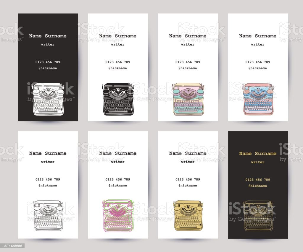 Set of business cards with hand drawn vintage typewriter vector art illustration