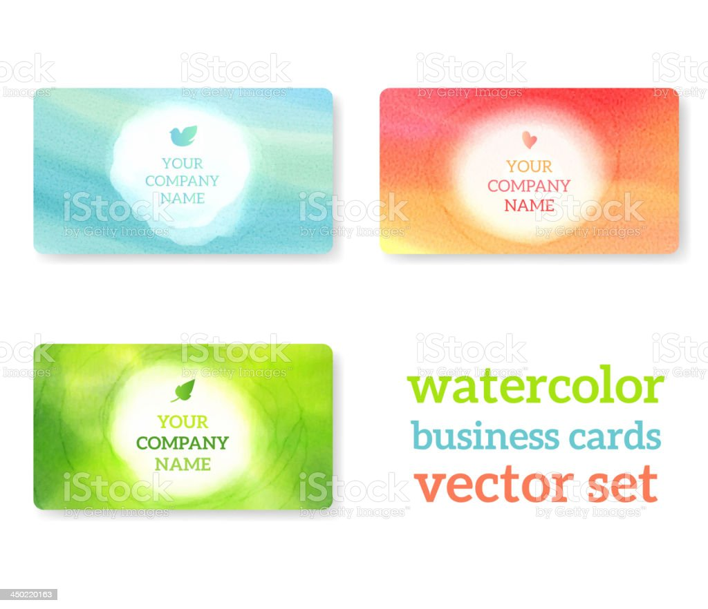 Set of business cards with watercolor background. royalty-free stock vector art