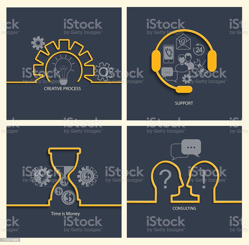Set of business concepts. vector art illustration