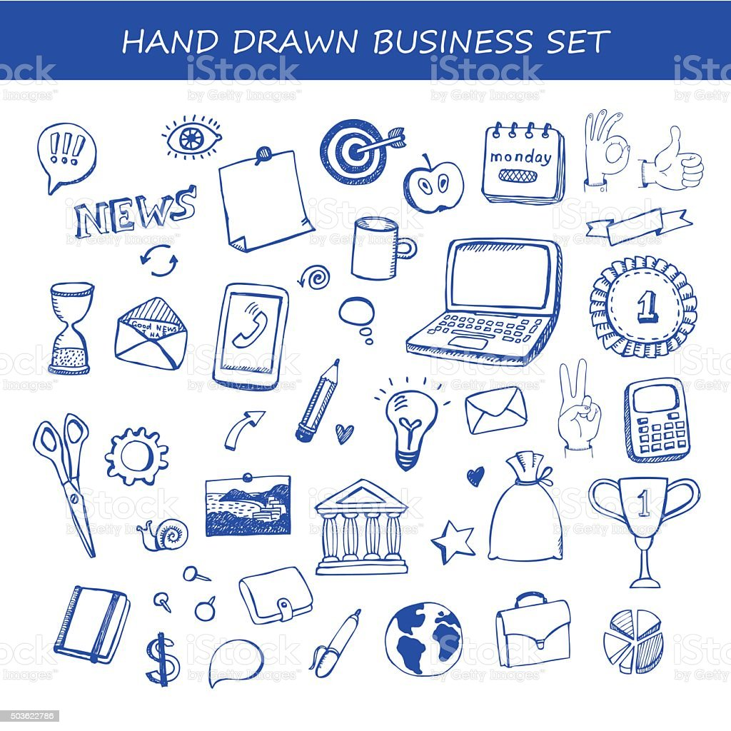 Set of business hand drawn vector design elements vector art illustration