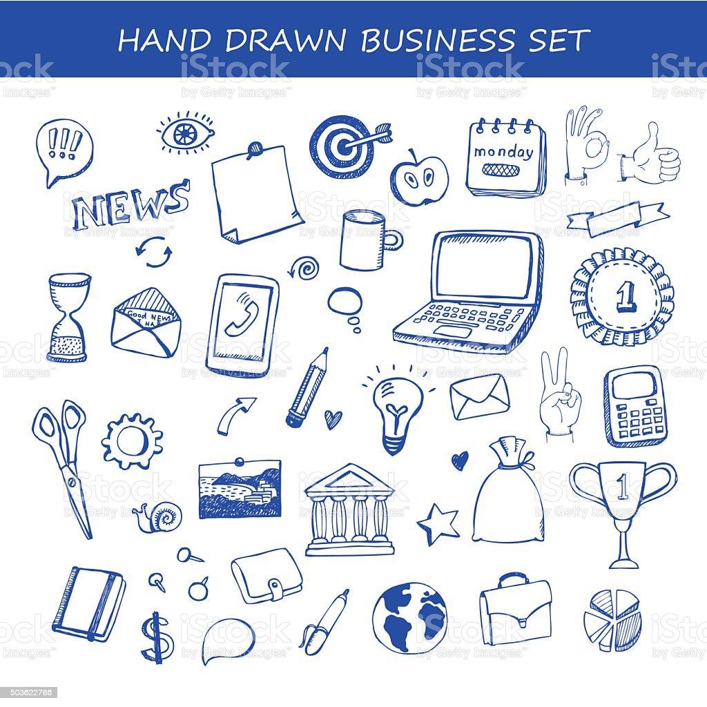 Set of business hand drawn vector design elements vector art illustration