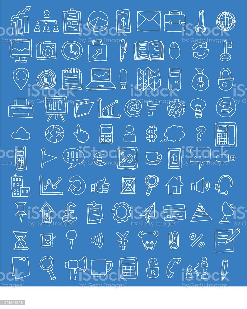 Set of business icons, Hand drawn vector illustration vector art illustration