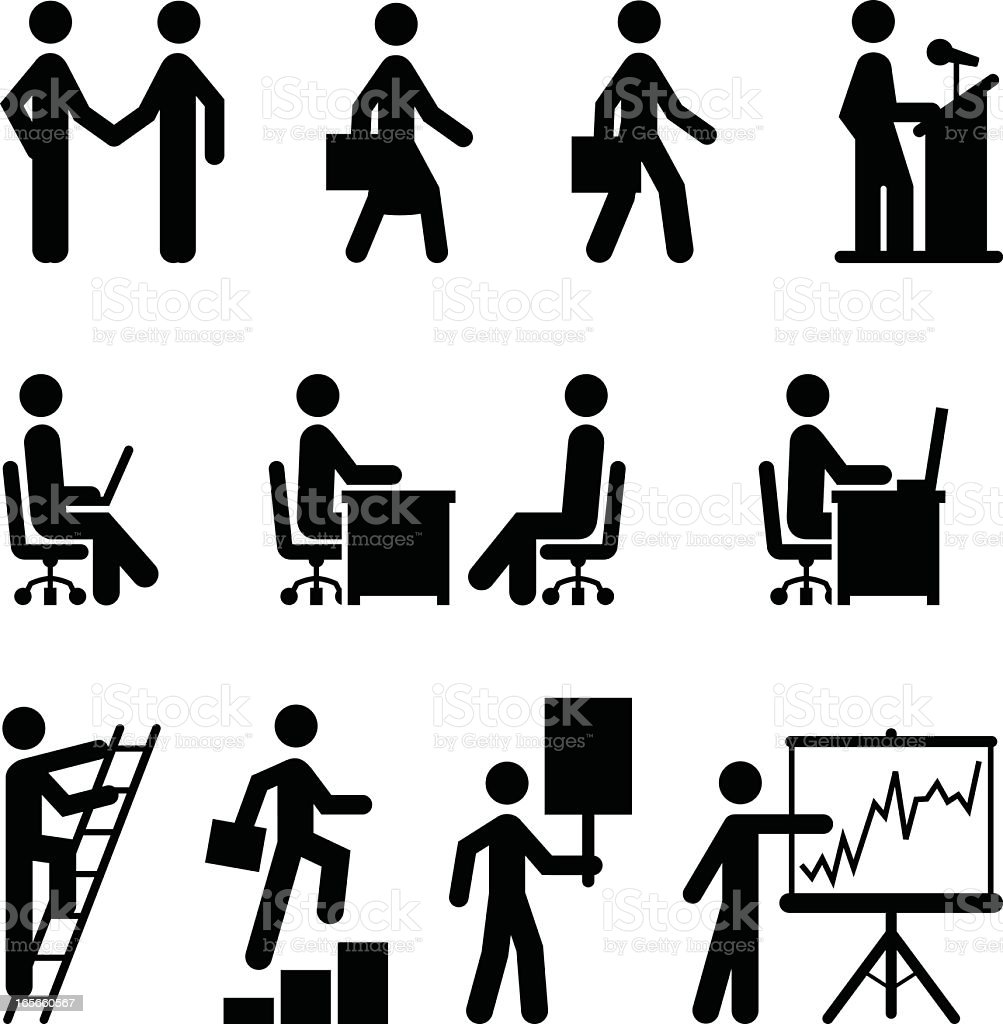 A set of business icons in black vector art illustration