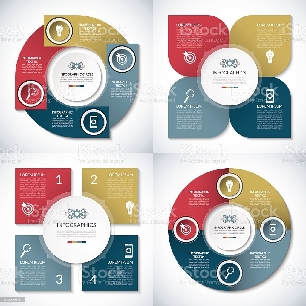 Set of business infographic circle templates. 4 step vector  banners vector art illustration