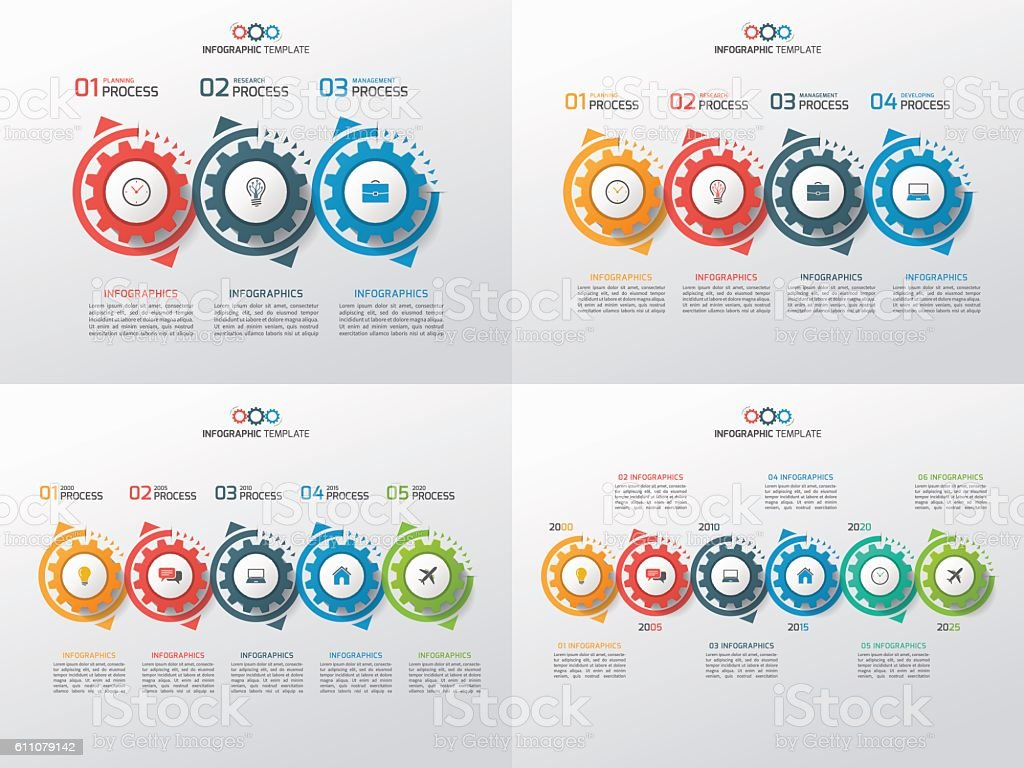 Set of business infographic templates with gears 3-6 steps royalty-free stock vector art