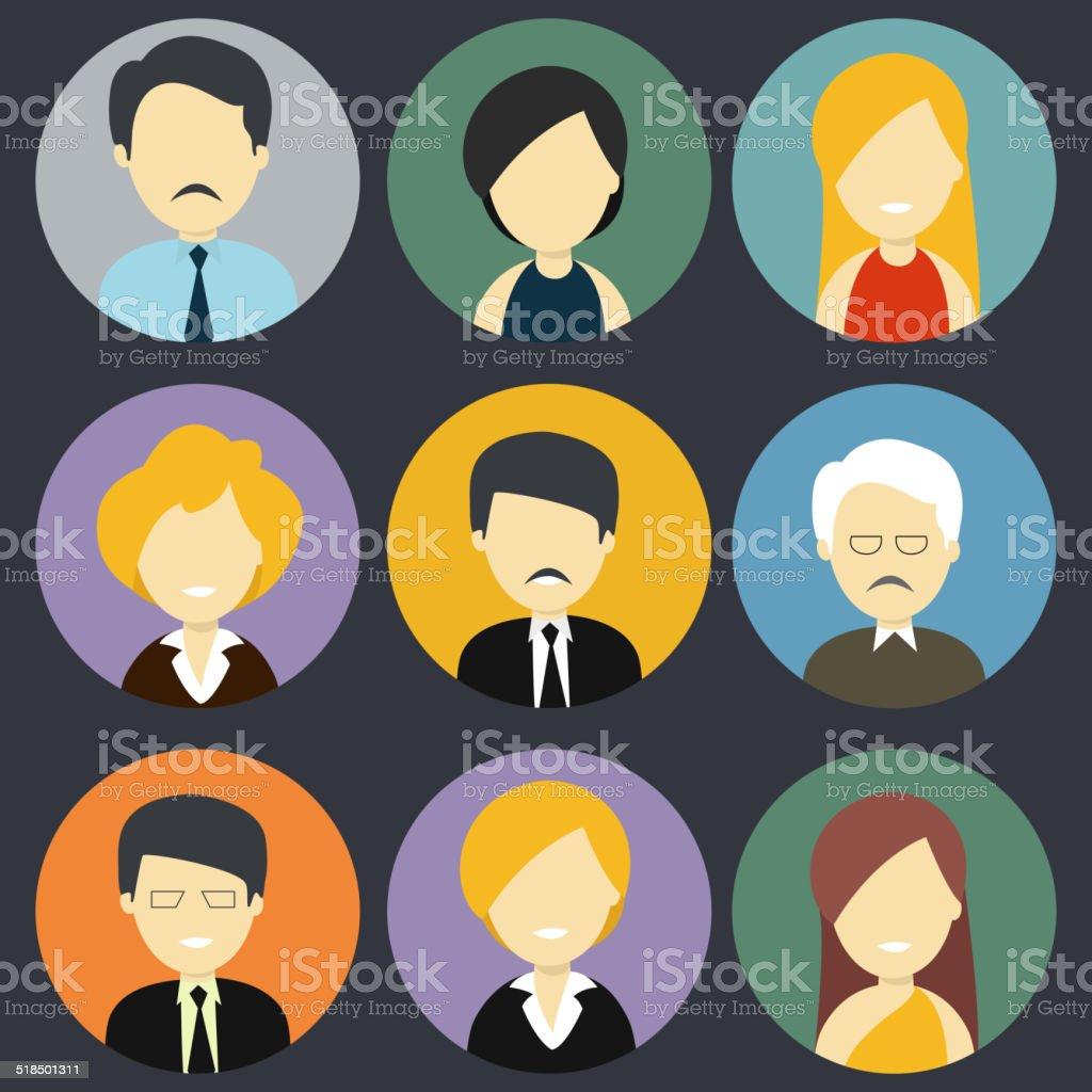 Set of business men and women. vector art illustration